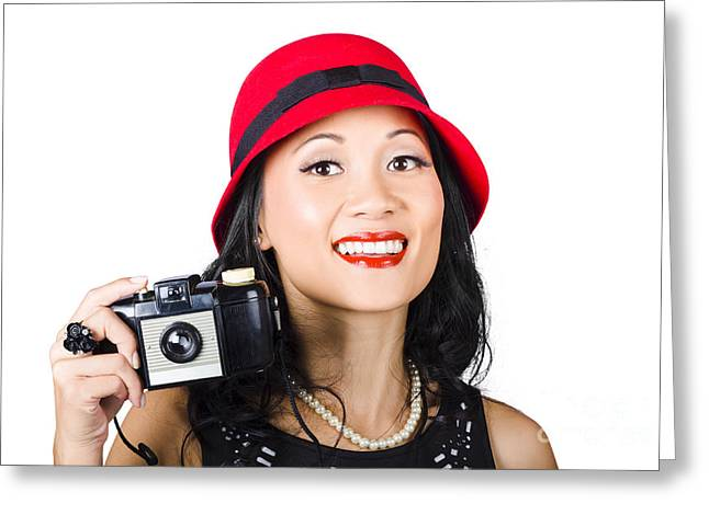 Smiling Woman Holding Retro Camera In Hand Greeting Card