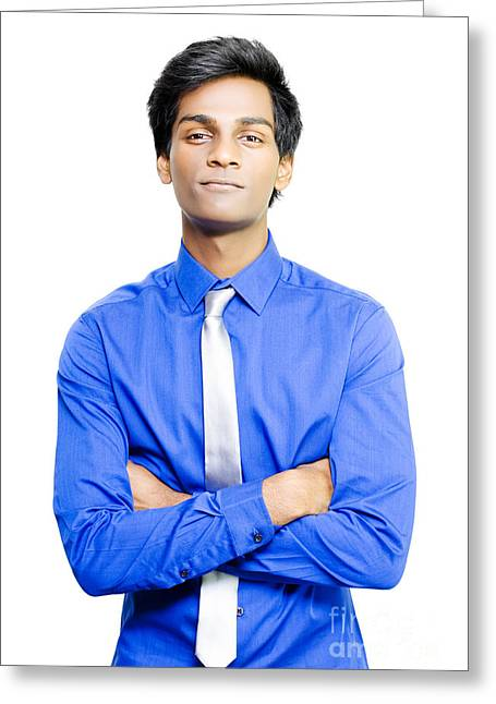 Smiling Young Asian Male Business Person Greeting Card by Jorgo Photography - Wall Art Gallery