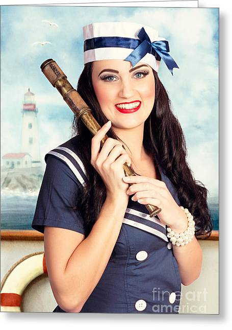 Smiling Young Pinup Sailor Girl. American Navy Greeting Card by Jorgo Photography - Wall Art Gallery