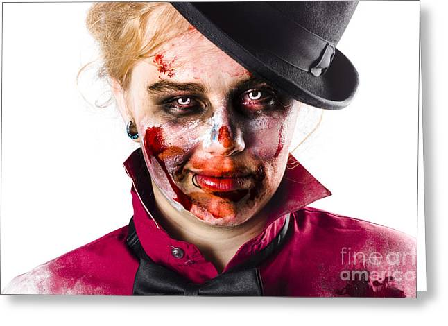 Smiling Zombie Woman Greeting Card by Jorgo Photography - Wall Art Gallery