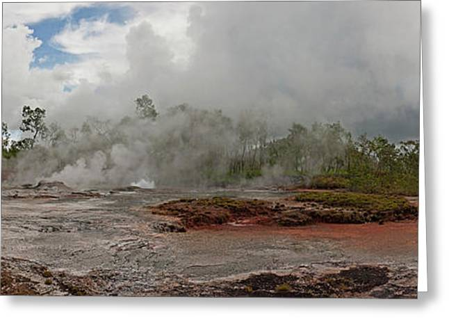 Smoke Erupting From A Hot Spring Greeting Card by Panoramic Images