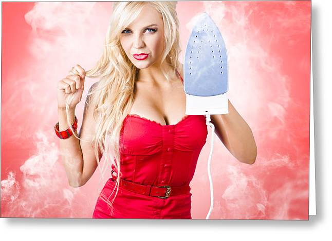 Smoking Hot Blond Cleaning Woman With Red Hot Iron Greeting Card by Jorgo Photography - Wall Art Gallery