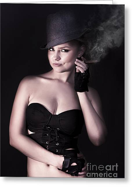 Smoking Hot Fashion Greeting Card by Jorgo Photography - Wall Art Gallery