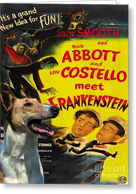 Smooth Collie Art Canvas Print - Abbott And Costello Movie Poster Greeting Card