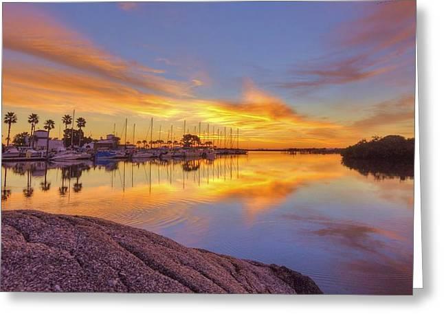 Smyrna Yacht Club Sunrise II Greeting Card by Danny Mongosa