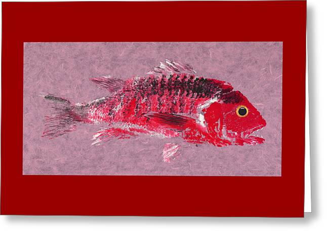 Gyotaku Snapper Greeting Card by Captain Warren Sellers
