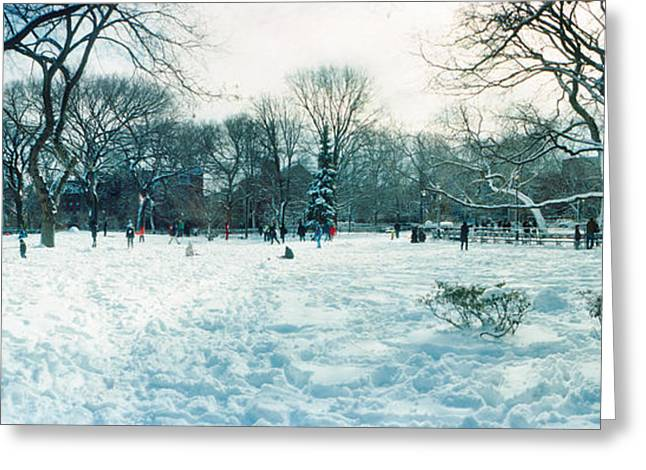 Snow Covered Park, Lower East Side Greeting Card by Panoramic Images