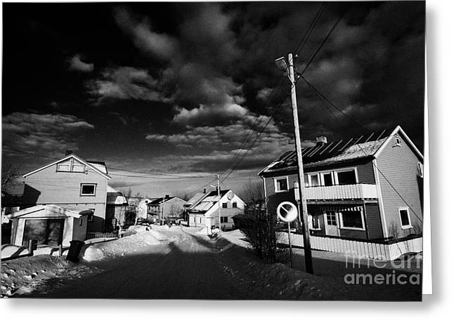 Snow Covered Street Of Traditional Wooden Houses In Kirkenes Finnmark Norway Europe Greeting Card