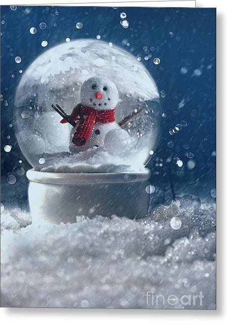 Snow Globe In A Snowy Winter Scene Greeting Card by Sandra Cunningham