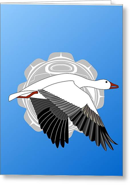 Snow Goose And Moon Greeting Card