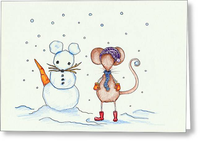 Snow Mouse And Friend Greeting Card by Sarah LoCascio