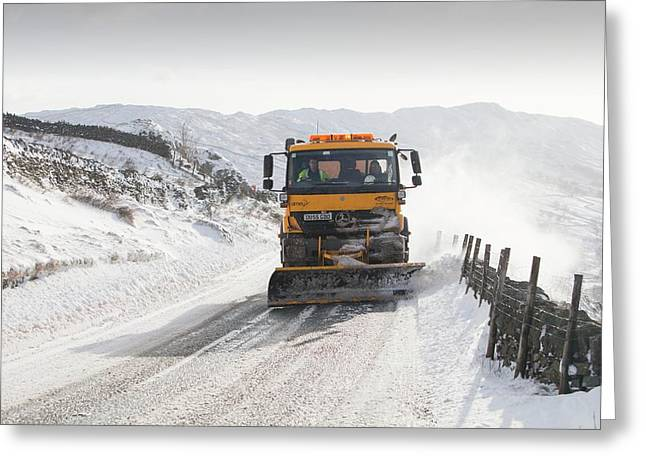 Snow Plough At Work Greeting Card by Ashley Cooper