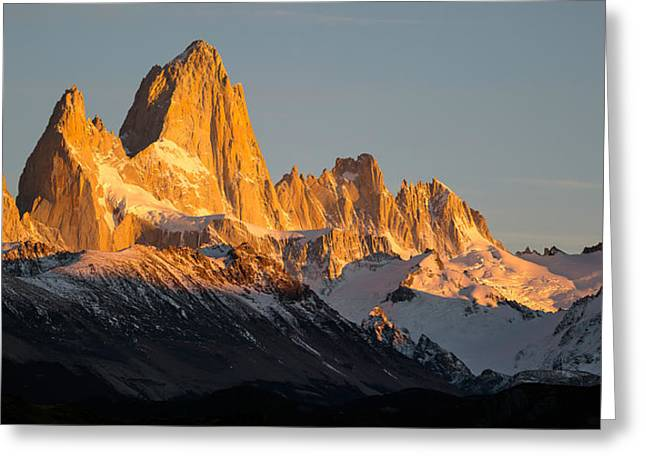 Snowcapped Mountain Range, Mt Fitzroy Greeting Card