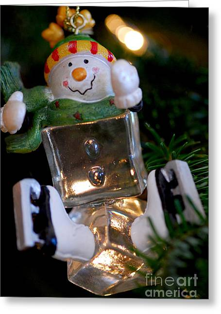 Snowman Ornament Greeting Card by Birgit Tyrrell