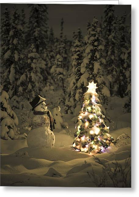 Snowman Stands In A Snowcovered Spruce Greeting Card