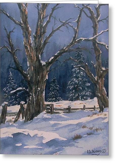 Snowy Fence Greeting Card