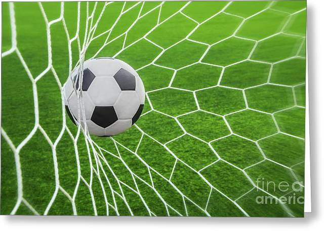 Soccer Ball In Goal  Greeting Card by Anek Suwannaphoom
