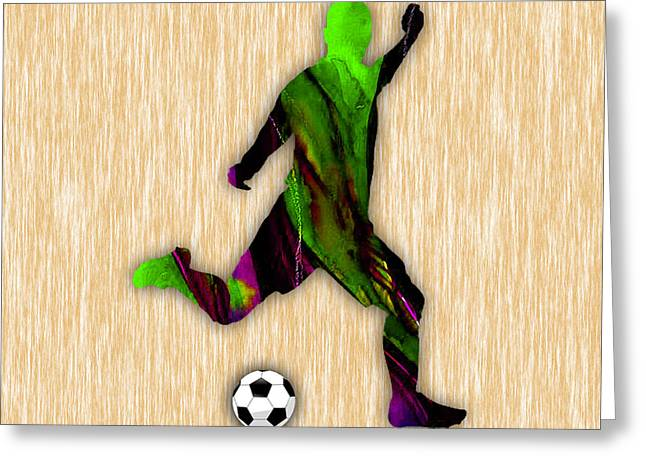 Soccer Player Greeting Card by Marvin Blaine