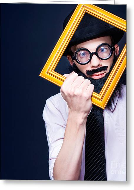 Social Media Man Resizing His Profile Picture Greeting Card by Jorgo Photography - Wall Art Gallery
