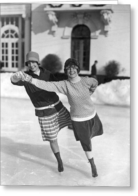 Society Ice Skating In Tuxedo, Ny Greeting Card by Underwood Archives