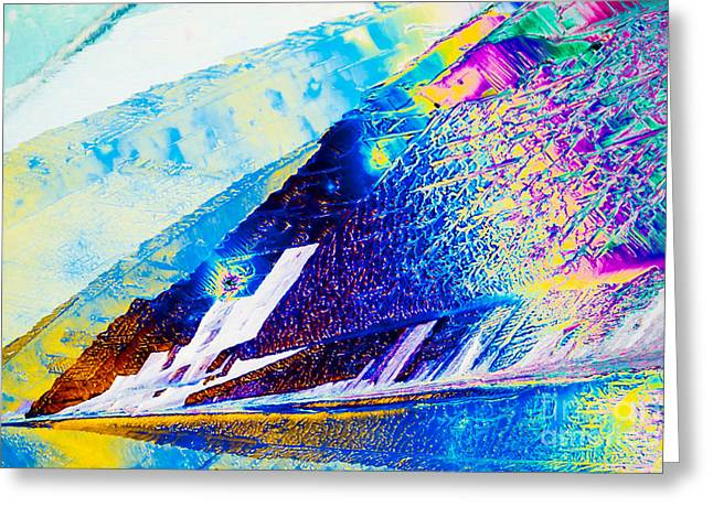 Sodium Thiosulphate Crystals In Polarized Light Greeting Card by Stephan Pietzko
