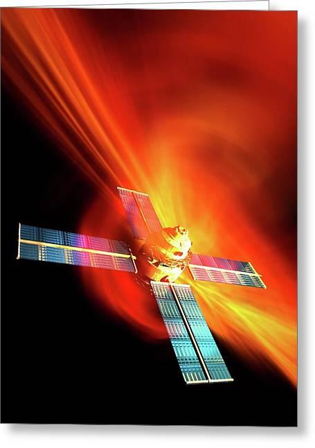 Solar Flare Hitting Satellite Greeting Card