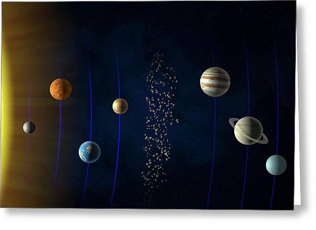 Solar System Greeting Card by Andrzej Wojcicki