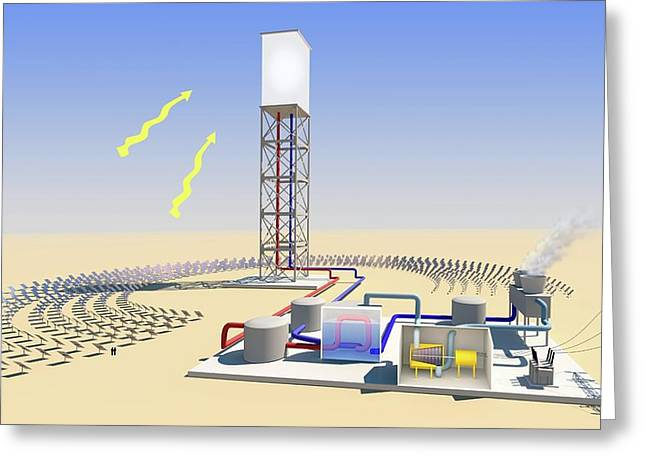 Solar Tower Electricity Greeting Card