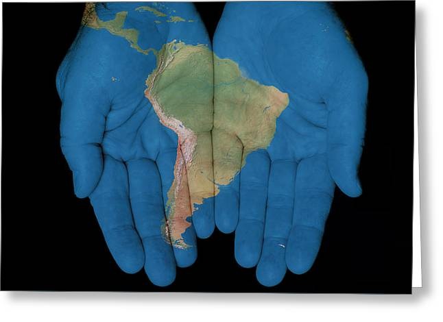 South America In Our Hands Greeting Card