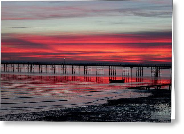 Southend Pier Sunset Greeting Card