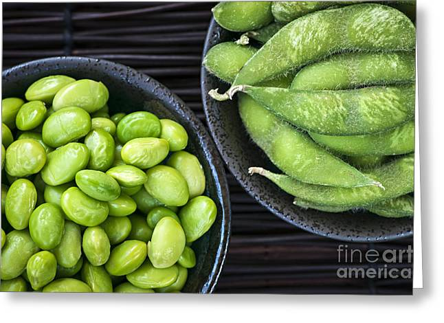 Soy Beans In Bowls Greeting Card