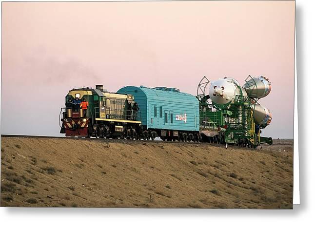 Soyuz Tma-11m Rollout Greeting Card by Nasa/bill Ingalls