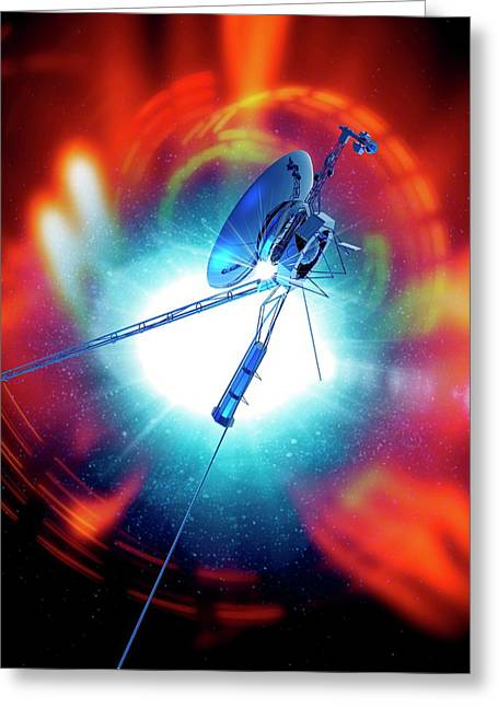 Space Probe In Outer Space Greeting Card by Victor Habbick Visions