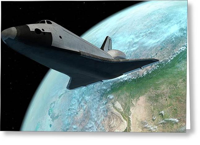 Space Shuttle Above Earth Greeting Card
