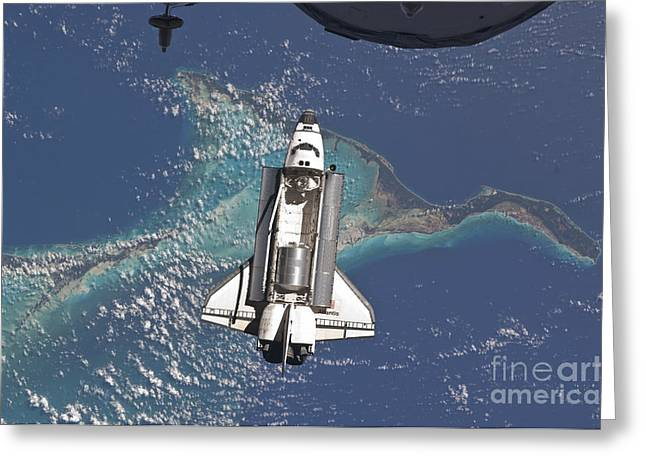 Space Shuttle Atlantis Over The Bahamas Greeting Card