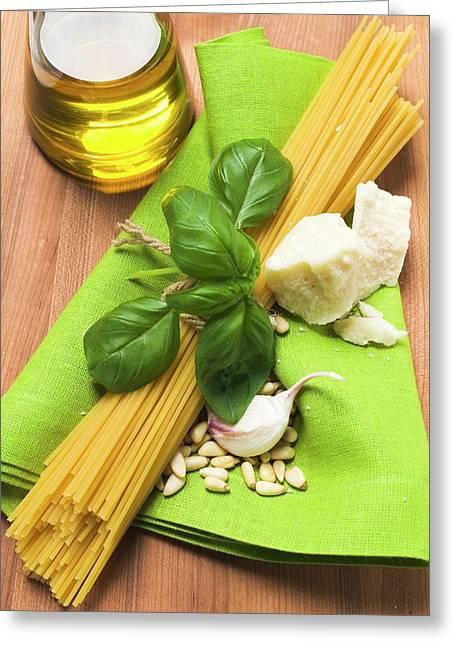 Spaghetti And Pesto Ingredients Greeting Card