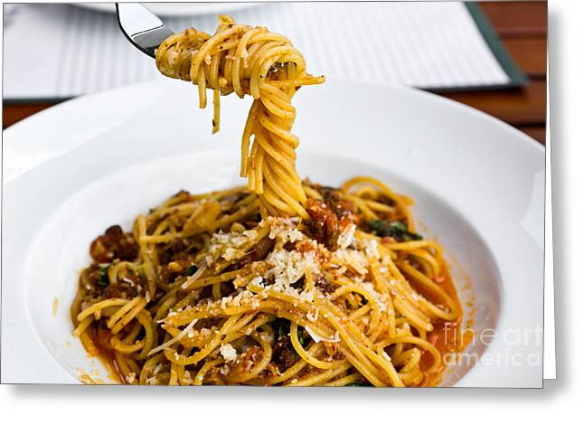 Spaghetti On The Fork Greeting Card by Tosporn Preede