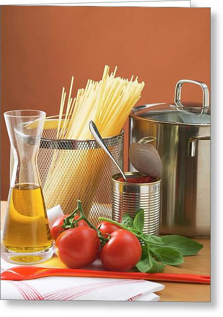 Spaghetti, Tomatoes, Oil And Pan Greeting Card