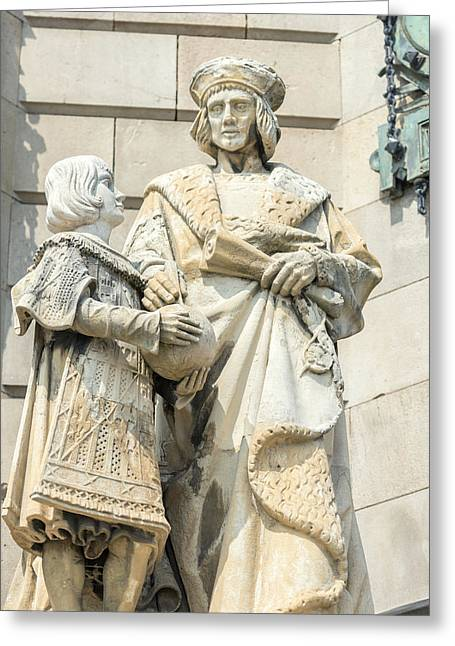 Spain, Barcelona, Christopher Columbus Greeting Card by Jim Engelbrecht