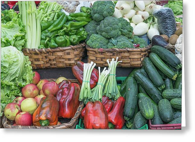Spain, San Sebastian, Vegetables Greeting Card
