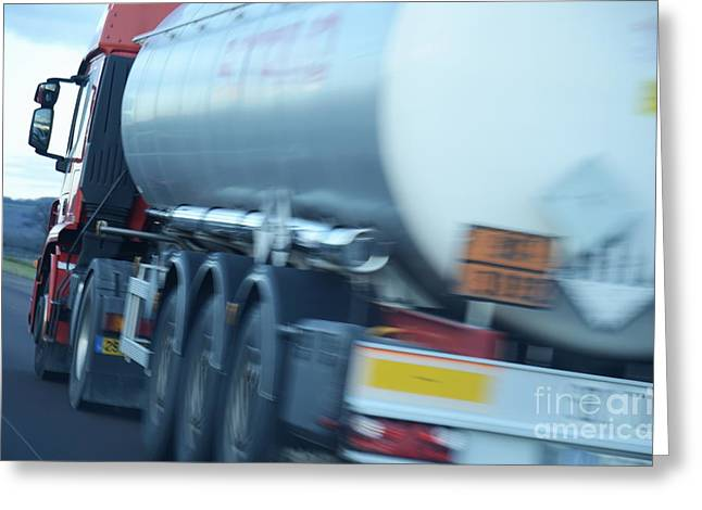 Speeding Truck On Highway Greeting Card by Sami Sarkis