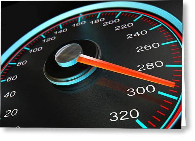 Speedometer Fast Speed Greeting Card by Allan Swart