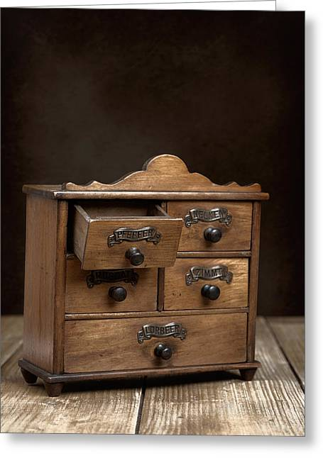 Spice Cabinet Greeting Card by Amanda Elwell