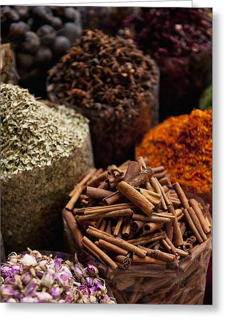 Spices For Sale In Spice Market Dubai Greeting Card by Ian Cumming