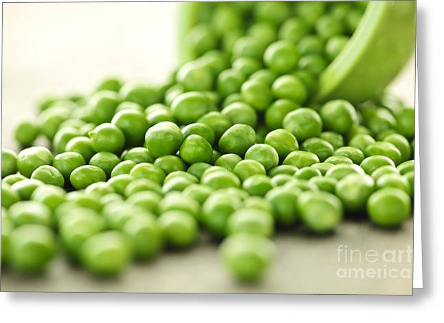 Spilled Bowl Of Green Peas Greeting Card