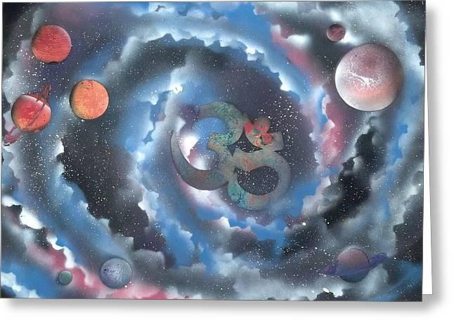 Spiral Galaxy Om Greeting Card by Thomas Roteman