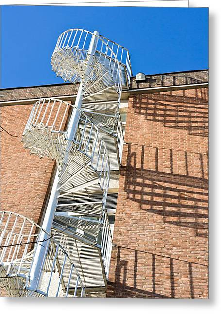 Spiral Staircase Greeting Card by Tom Gowanlock