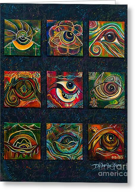 Greeting Card featuring the painting Spirit Eye Collection II by Deborha Kerr