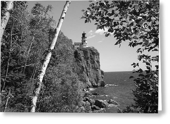 Split Rock Black And White Greeting Card