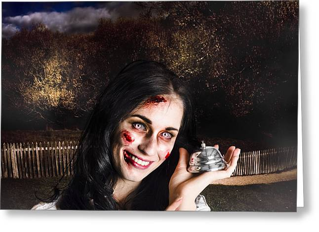 Spooky Girl With Silver Service Bell In Graveyard Greeting Card by Jorgo Photography - Wall Art Gallery